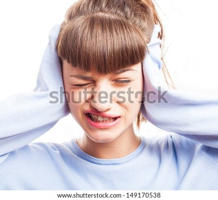 girl in a noisy place on a white background - stock photo