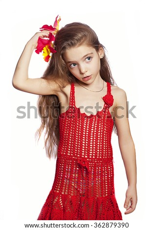girl in a red dress isolated