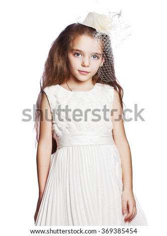 girl in a red dress isolated - stock photo