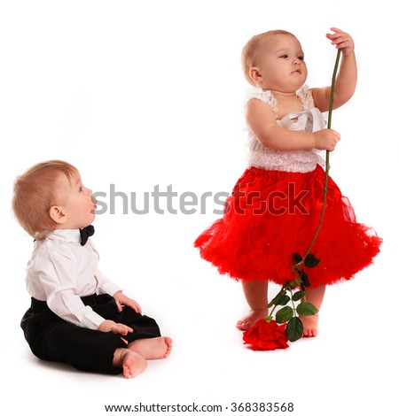 girl in a red skirt and hat boy and a gentleman in a hat, love, white background, Valentine's Day