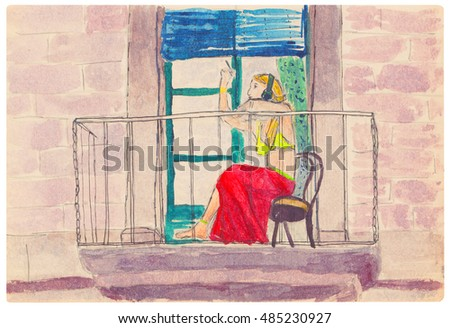Girl in a red skirt, smoking on the balcony. Open terrace and facade of an old european building. Sketch, watercolor.