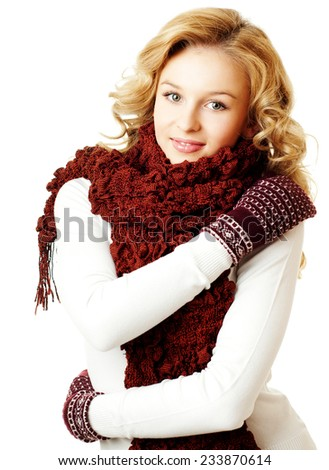 girl in a scarf and mittens. winter season. - stock photo