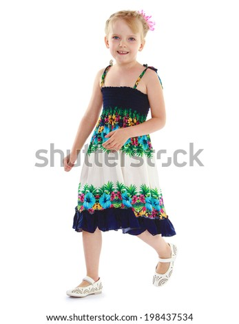 girl in a summer sundress enthuses about his vacation by the ocean. Isolated on white background. - stock photo