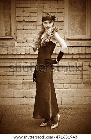 Girl in a vintage dress. Retro stylization