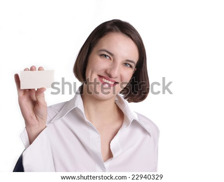 girl in a white blouse with a card in a hand on a white background