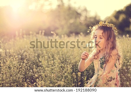 girl in a wreath on the head - stock photo
