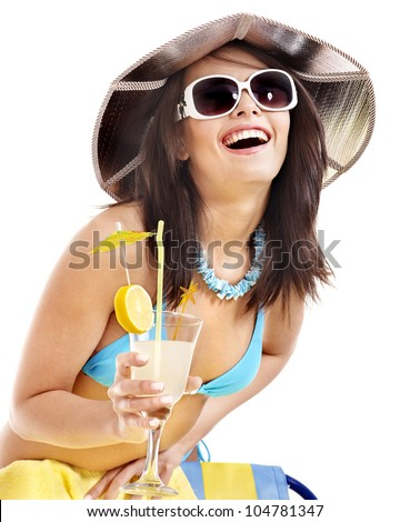 Girl in bikini drink juice through  straw. Isolated.