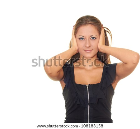 girl in black dress isolated on white background covers his ears - stock photo