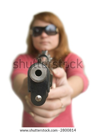 Girl in black glasses with big pistol on white background (isolated) - stock photo