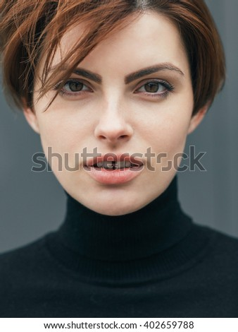 girl in black golf - stock photo