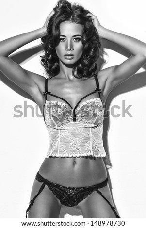 Girl in black-white lingerie - stock photo
