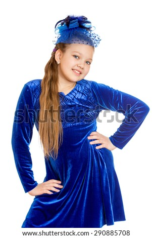 Girl in blue dress and hat , close-up - isolated on white background