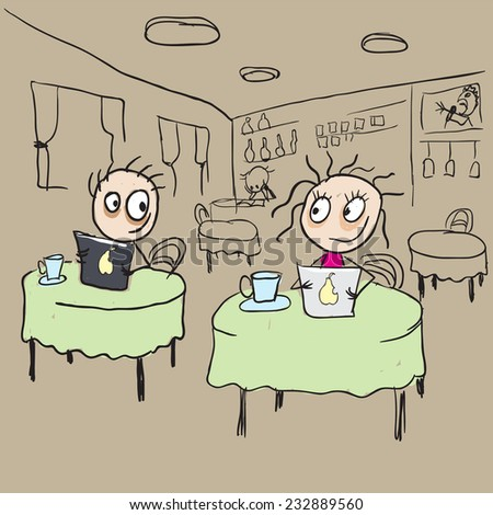 Girl in cafe flirting ogle - stock photo