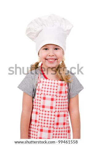 girl in chef's hat isolated on white background - stock photo