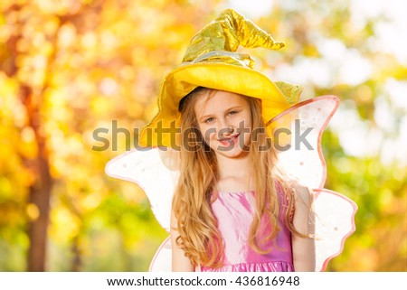 Girl in costume of fairy close-up view standing - stock photo