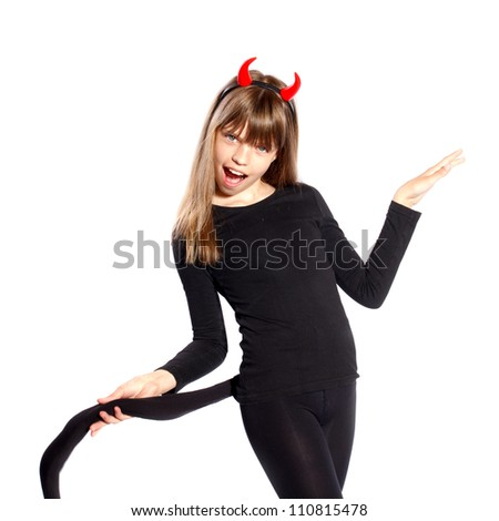 girl in devil costume waving his tail on a white background
