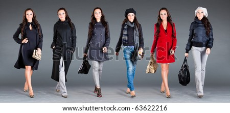 girl in different clothes, autumn winter collection clothes
