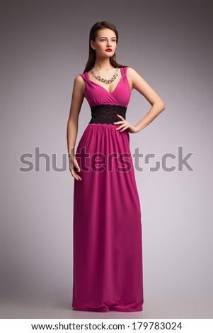 Girl in dress. Beautiful. New fashion. - stock photo