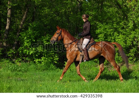 Girl in equestrian uniform on horseback  - stock photo