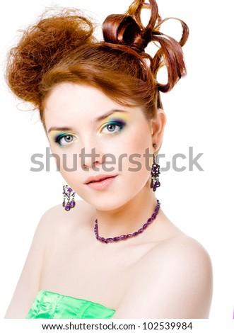 Girl in fairy costume, white background - stock photo