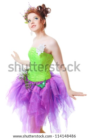 Girl in fairy costume, white background