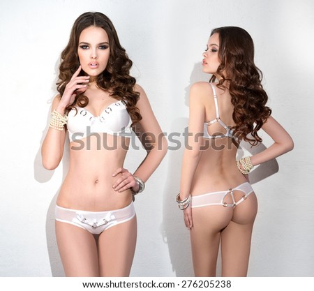 Girl in fashion lingerie, front and rear  - stock photo