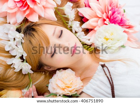 Girl in flower good sleep - stock photo