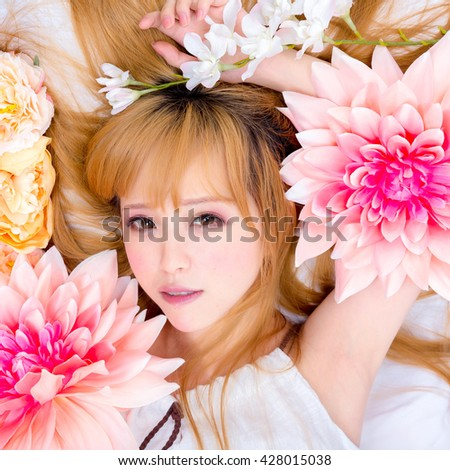 Girl in flower good sleep - stock photo