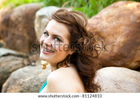Girl in forest - stock photo