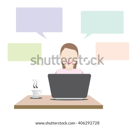 girl in front of laptop Concept. with callout and tea cup Vector Illustration