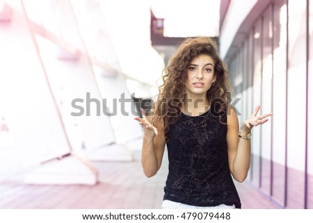 Girl in furious outdoor, portrait