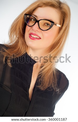 Girl in glasses. business woman in glasses. Sexy woman with glasses. Close-up