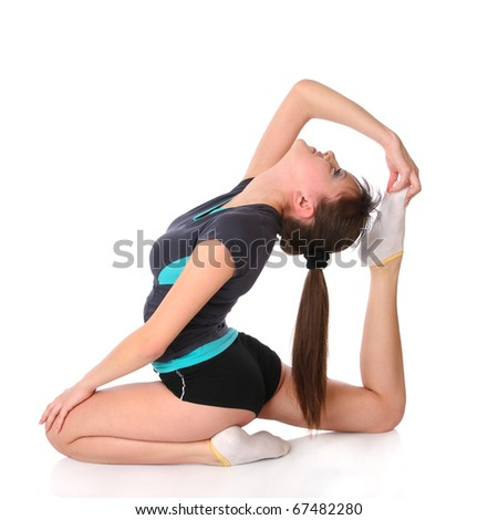 girl in gymnastics poses isolated at white background