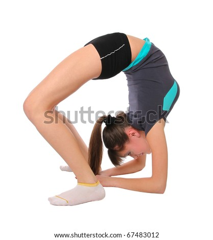 girl in gymnastics poses. Isolated at white background