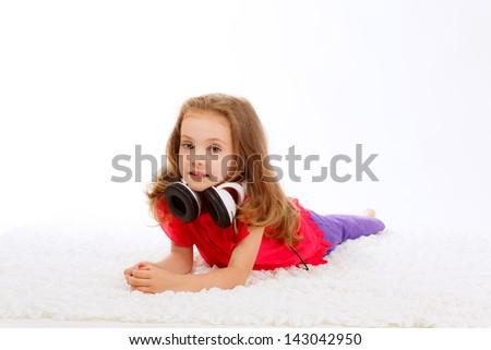 girl in headphones - stock photo