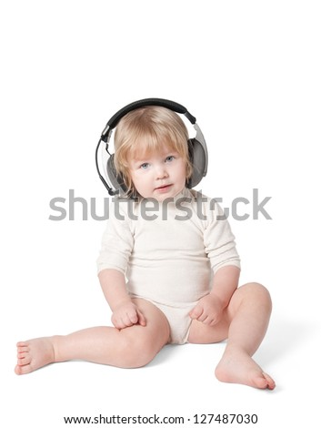 Girl in headphones on a white background. Clipping Path. - stock photo