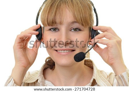 girl in headphones with microphone