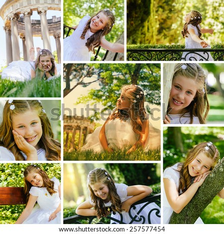 Girl in Her First Communion Day - Photo Collection - stock photo