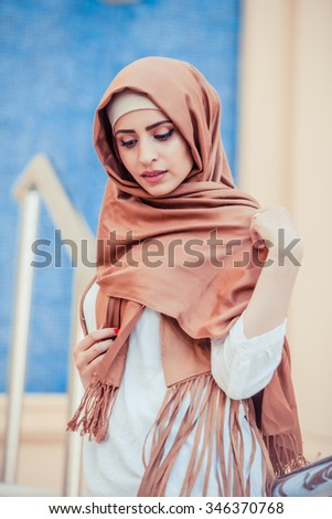 girl in hijab - stock photo