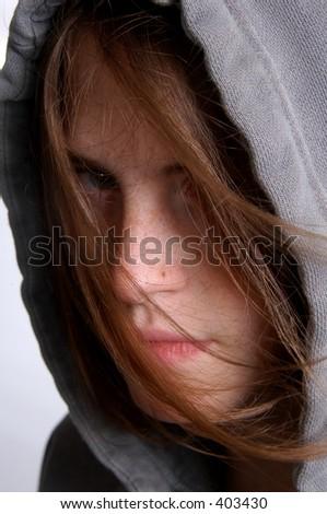 Girl in Hoody - stock photo