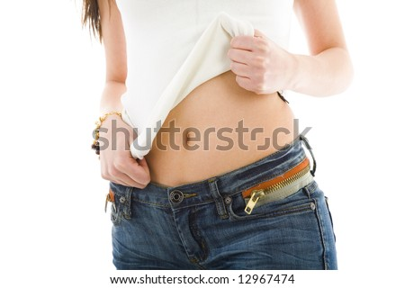 Girl in jeans on white isolated background