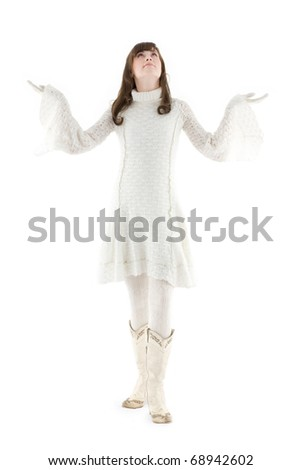 girl in knitted winter dress