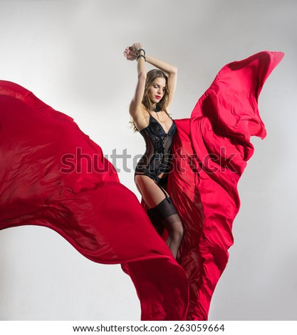 Girl in lingerie and red silk  - stock photo