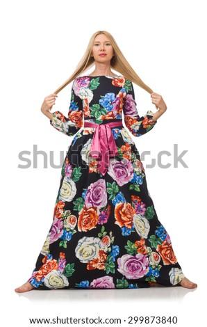 Girl in long flower dress isolated on white - stock photo
