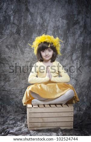 girl in meditation - stock photo