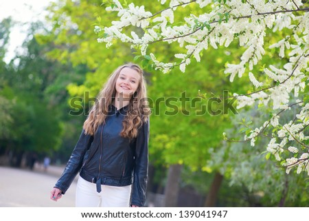 Girl in park on a spring day