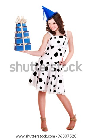 Girl in party hat with stack gift box. Isolated.