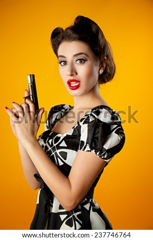girl in pin-up style. sexy passionate woman - stock photo
