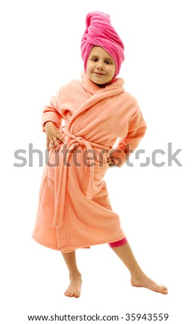 Girl in pink bathrobe after taking a bath