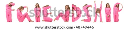 Girl in pink clothes  making word FRIENDSHIP, collage - stock photo